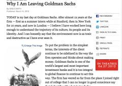 Dirigente Goldman Sachs annuncia l'addio sul New York Times