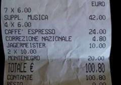 Conto salato a Venezia: 100 euro per 4 caffè e 3 amari