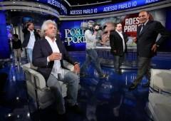 """Grillo (molto poco a suo agio) da Vespa: """"Processi online per politici e imprenditori"""""""