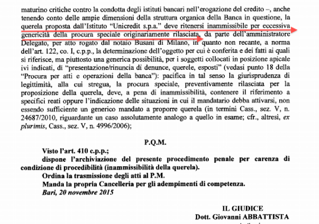 Unicredit denunciata per presunta usura da un piccolo imprenditore pugliese