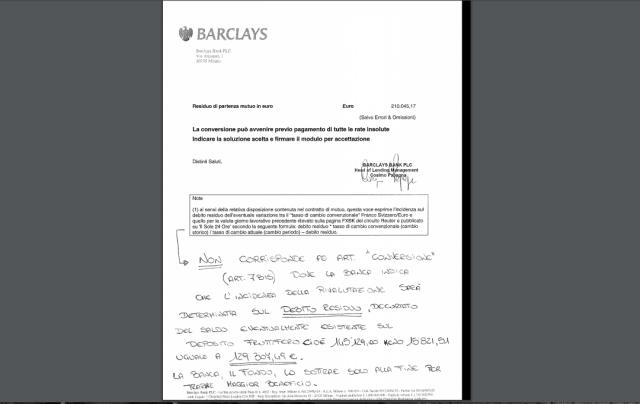 Il contratto di mutuo Barclays che è stato sottoscritto dal vicepresidente di Tuconfin, Sheila Meneghetti