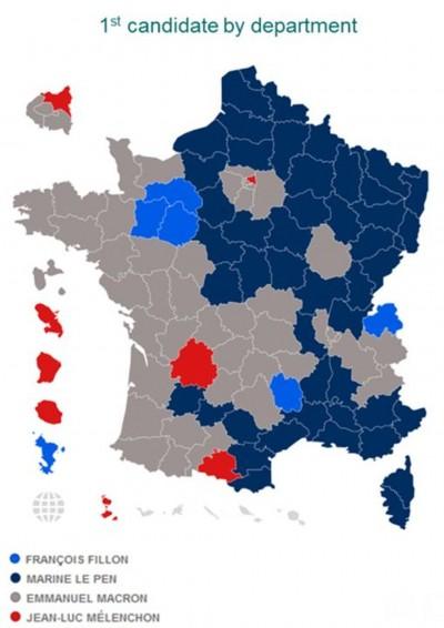 La Francia spaccata in due: distribuzione del voto al primo turno delle elezioni presidenziali francesi.