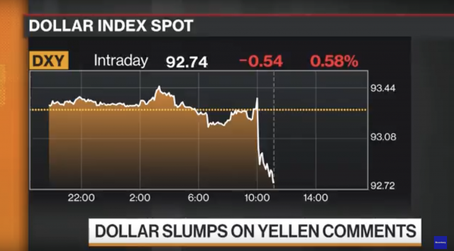 Dollaro Usa in calo dopo intervento di Yellen a Jackson Hole