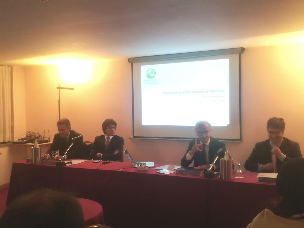 Da destra Alessandro Paralupi, segretario generale Ocf, Joe Capobianco, direttore generale Ocf, Elio Conti Nibali, vice presidente Ocf e Roberto Brega (Assoreti)