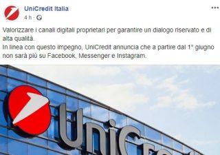 UniCredit, addio social: dal 1° giugno chiusi gli account Facebook e Instagram