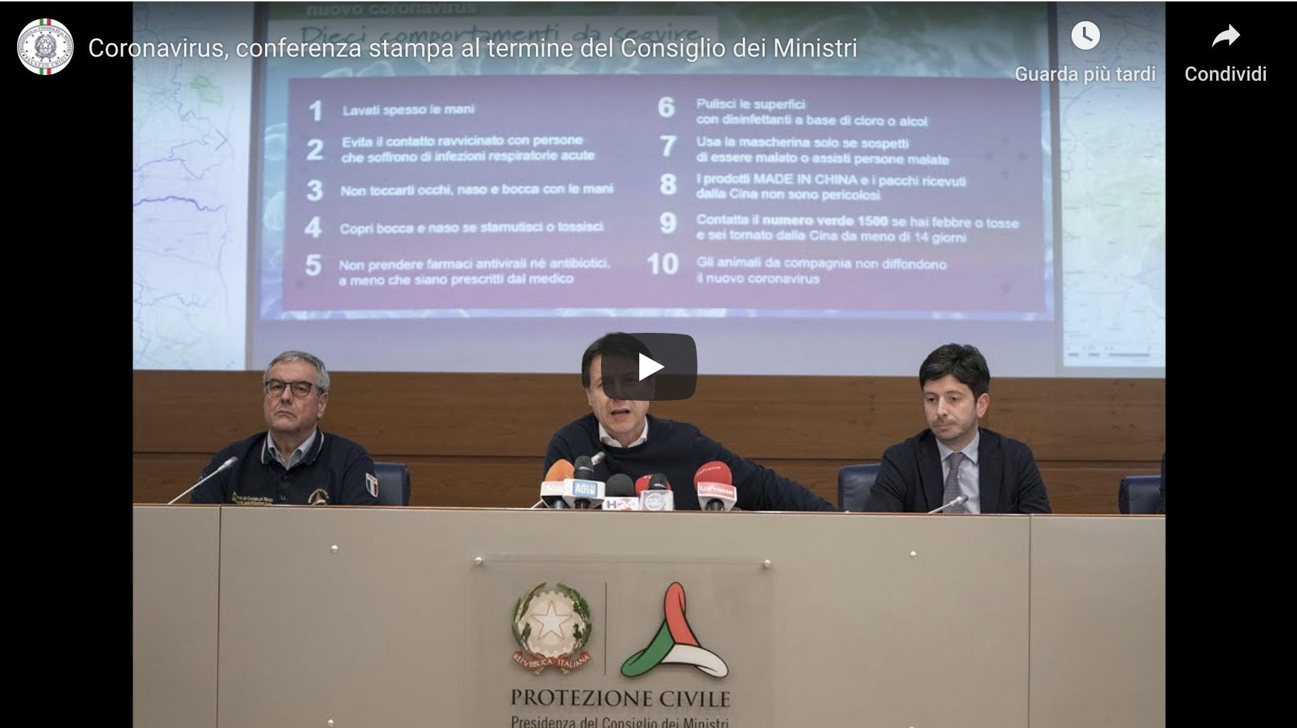 CONTE: Un decreto legge per fronteggiare l'epidemia